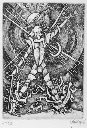 Grazina Didelyte, Don Quijote (Exlibris) , 1996 Radierung, Auflage 30 röm. num., sign.  10,7 x 7,5 cm (Plattenmass);