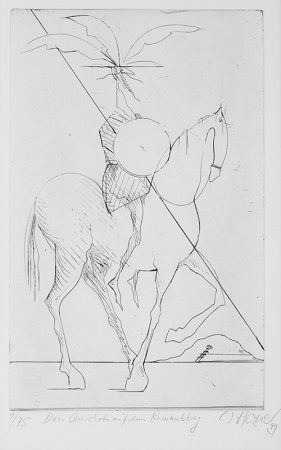 Walter Hanel, Don Quijote am Rammelsberg,  VFK-Jahresgabe 1994 Radierung, Auflage 75, sign. und num.  49 x 39 cm